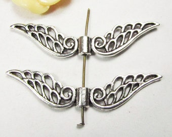 Angel Wings -10pcs Antique Silver Large Filigree Wing Spacer Charm Pendants 12x52mm A503-1