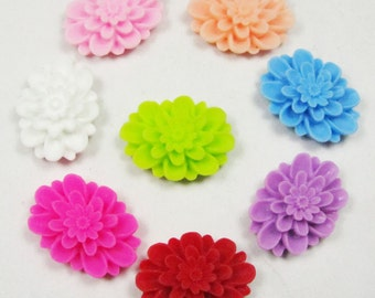 SALE 50pcs Chrysanthemum Flowers - Mixed Colors Oval Resin Rose Flower Cabochons Bobby Pin Charm 19x25mm H104