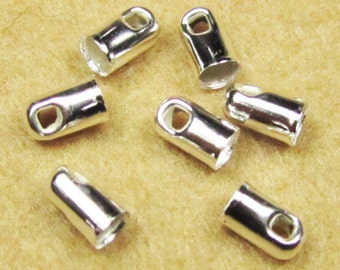 End Caps -200pcs Silver Plated End Cap Clasp Clips Wholesale Jewelry Findings 3x6mm B409-1