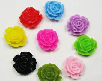 Chrysanthemum Flowers -50pcs Mixed Colors of Beautiful Resin Rose Bobby Pin Cabochons 15mm H505