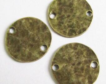 15pcs Antique Bronze Round Hammered Disc Plate Connector Charm Pendants 20mm D102-1