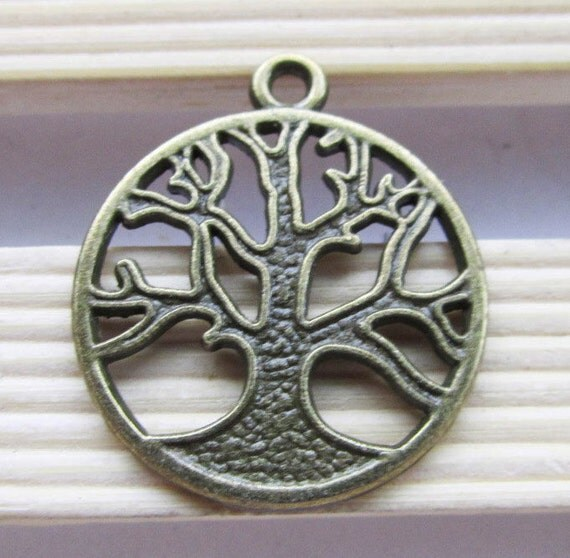 Tree Charms -15pcs Antique Bronze Old Tree in Circle Charm Pendants 24mm Round C208-4