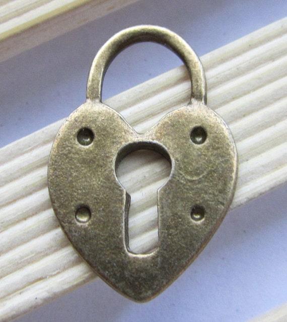10pcs Antique Bronze Lock with Key Hole Charm Pendants 18x28mm C505-1