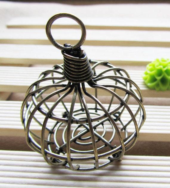Birdcage charms : 1pc Antique bronze bird cages charm pendants 39x46mm