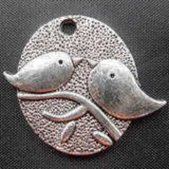 Jewelry Wholesale -15pcs Antique Silver Love Birds Charm Pendant 25x29mm A203-6