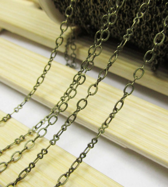 16ft 2x3mm Antique Bronze Brass Flat Mother and Son Cable Link Chain Jewelry Findings W168
