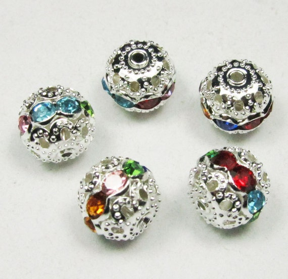 15pcs Rondelles Crystal Rhinestone Multi Color Crystal spacer beads 10mm silver
