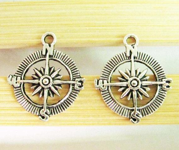 Compass Charms -15pcs Antique Silver Compass Charm Pendants 25mm A408-3