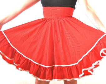 Red and White Polka Dot Circle Skirt - Size Small