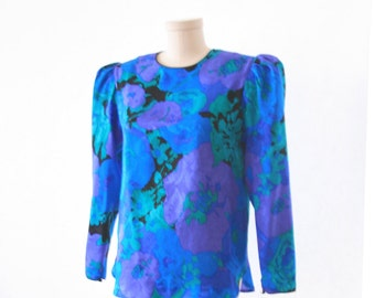 Flora Kung - NY - Floral Silk Print Blouse - Size Small - Cute