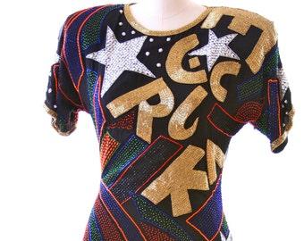 ROCK STAR - Black Beaded Dress by Lillie Rubin - Size  4
