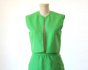 Cute Neon Green Lillie Rubin Suit - Skirt and Vest - Size Small