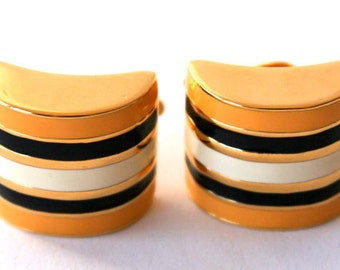 St. John - Earrings - Yellow and Blue Stripe Clip On Metal Earrings