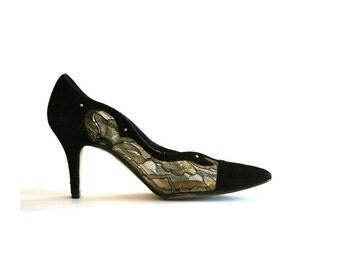 Studded Black, Lace, Plastic & Gold Shoes - J. Renee - Super Cool - Size 7.5