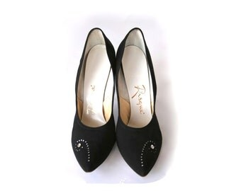 Size 7.5 Ladies Black Heels - Vintage Rhinestone Swirl by Risque
