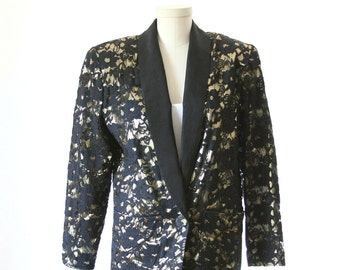 Leo by Shelli Segal - Vintage Gold Lame and Lace Jacket Blazer