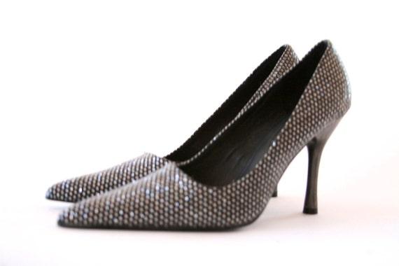 Size 7 - Na Na - 70's Disco Ball Heels - Hologram Goodness
