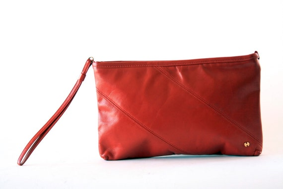 Halston - Simple and Sleek - Red Leather Clutch - Vintage 70's