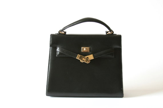 Black Hand Bag - Hermes Style by Valerie Stevens - Leather