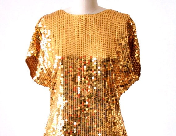 Gold Sequined Sparkle Top by Oleg Cassini - Size Small/Medium