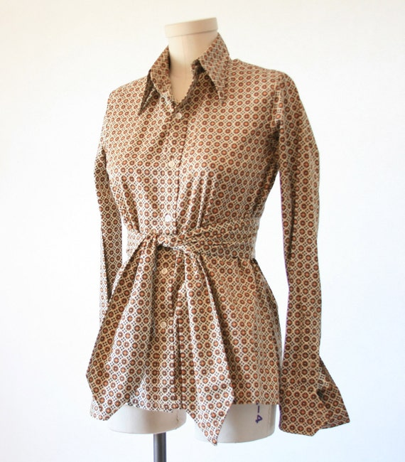 Reserved Vintage Ralph Lauren Secretary Blouse - Cool Print - Size Small