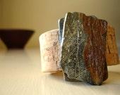 Eco-Friendly CORK CUFF Bracelet with Rustic Slate Stone