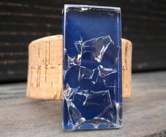 Eco-Friendly CORK CUFF Bracelet with Navy Blue Encased Broken Glass