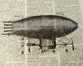 Dictionary Art Print - Upcycled Vintage Paper - Zeppelin Print - 7-3/4 x 10-3/4