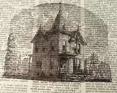 Dictionary Art Print - Upcycled Vintage Paper - Haunted House Print - 7-3/4 x 10-3/4