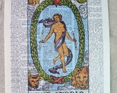 Dictionary Art Print - Upcycled Vintage Paper - The World - Tarot Card Print - 7-3/4 x 10-3/4