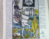Dictionary Art Print - Upcycled Vintage Paper - Death - Tarot Card Print - 7-3/4 x 10-3/4