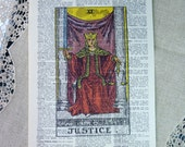 Dictionary Art Print - Upcycled Vintage Paper - Justice - Tarot Card Print - 7-3/4 x 10-3/4