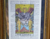 Dictionary Art Print - Upcycled Vintage Paper - The Lovers - Tarot Card Print - 7-3/4 x 10-3/4