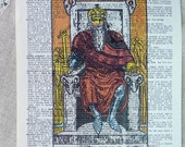 Dictionary Art Print - Upcycled Vintage Paper - The Emperor - Tarot Card Print - 7-3/4 x 10-3/4