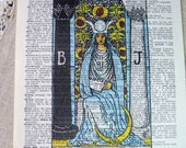 Dictionary Art Print - Upcycled Vintage Paper - The High Priestess - Tarot Card Print - 7-3/4 x 10-3/4