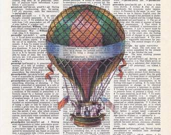Dictionary Art Print - Upcycled Vintage Paper - Circus Balloon - 7-3/4 x 10-3/4