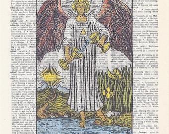 Dictionary Art Print - Upcycled Vintage Paper - Temperance - Tarot Card Print - 7-3/4 x 10-3/4