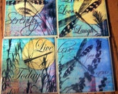 Dragonfly coasters travertine tile decoupaged set