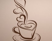 "NEW ""Coffee & Hearts"" Design Vinyl Wall Decal for Kitchens/Bars. Many Colors"
