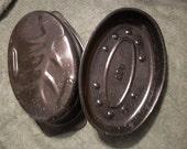 Blue Enamelware Speckled Graniteware Roasting Pan Made in USA
