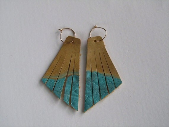 Leather Dangle Earrings - Upcycled, Modern, Fringe, Turquoise and Tan, Gold Filled Ear Wire
