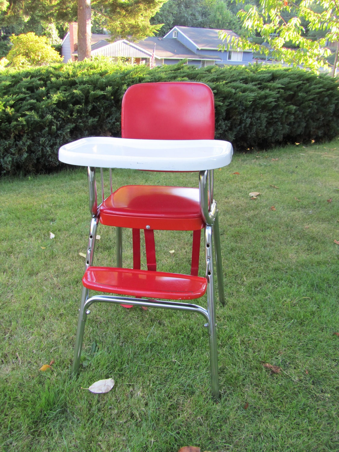High Chair 1950s Vintage Metal Cherry Red And White Cosco