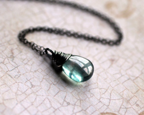 "Mystic Green Quartz Necklace on Oxidized Sterling Silver - ""Eden"" by Inkin on Etsy"