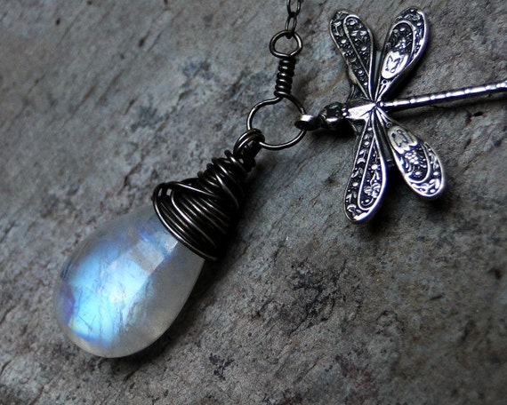 Rainbow Moonstone Necklace, Dragonfly Necklace - Moonwings by Inkin on Etsy