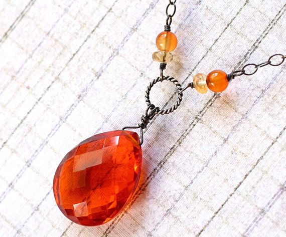 Orange Quartz Necklace with Gemstones on Oxidized Sterling Silver - Ifrit by Inkin on Etsy