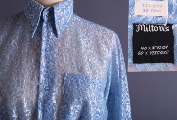 Sheer Lace Tunic / 80s Robbins Egg Blue Dress Tunic / M