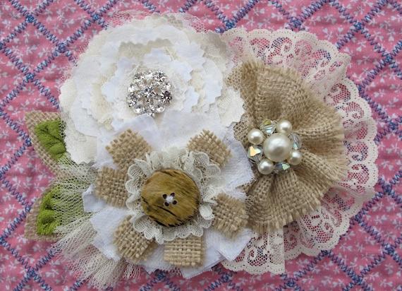 Rustic Burlap Lace Wedding Sash Vintage Floral Pin Belt