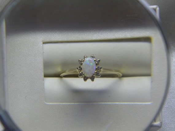RESERVED 14k Gold Opal Ring with Diamond Accents