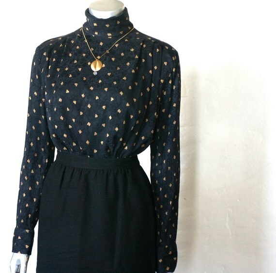 Vintage 80s does Victorian era secretary blouse in black silk with gold print