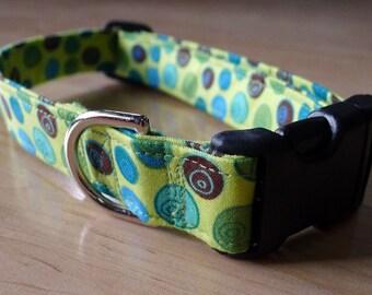 MODERN green blue swirls DOG COLLAR polka dot